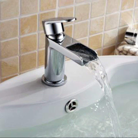 Modern Mono Basin Mixer Brass Tap With Sprung Waste ZP05 - Chrome Finish