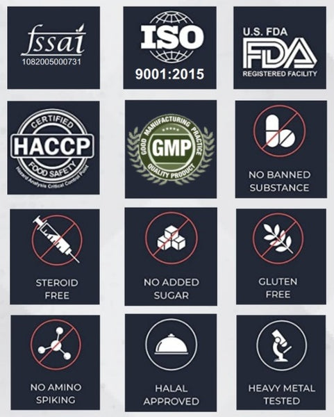 FSSAI ISO US FDA HACCP GMP NO BANNED SUBSTANCE STEROID FREE NO ADDED SUGAR GLUTEN FREE NO AMINO SPIKING HALAL APPROVED HEAVY METAL TESTED