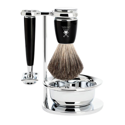 Muhle | VIVO 4Pcs Shaving Set | Black Safety Razor | Stand | Brush With Bowl