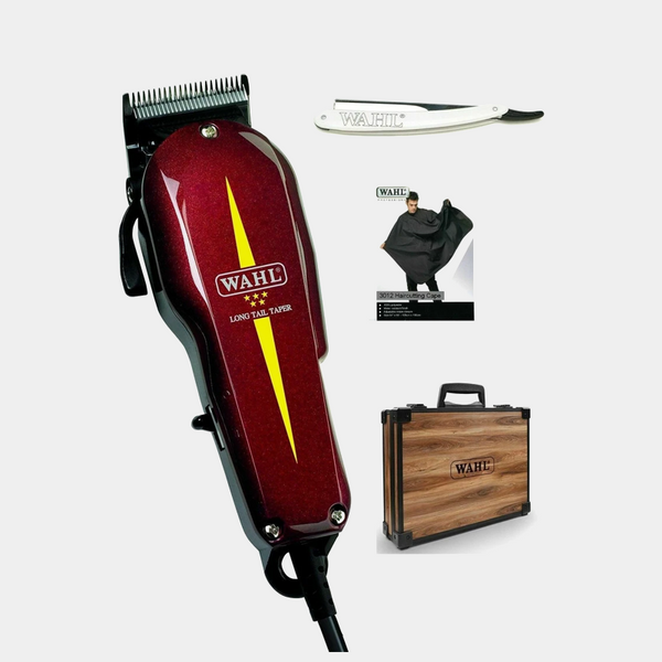 WAHL Long Tail Taper, Razor & Black Cape In Wooden Brief Case