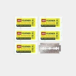 FEATHER Hi-Stainless Double Edge Safety Razor Blades (50) | 10 Count