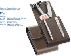 Dovo Deluxe 5-Piece Manicure Set with Merkur 23C Safety Razor in Brown Cowhide