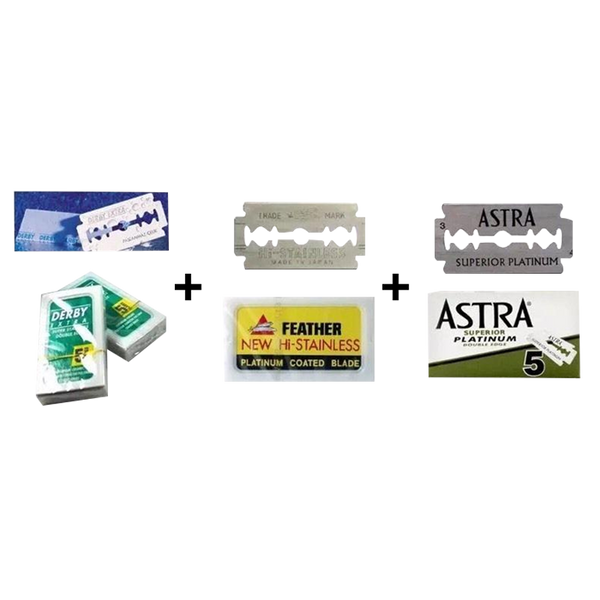 Derby/Feather/Astra Double Edge Razor Blades - The Quality Trio Pack - Barbersupplies & Co