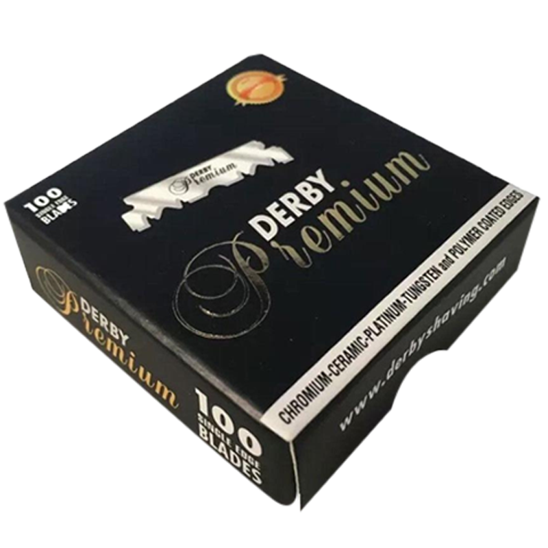 Derby Premium Ceramic Platinum Single Edge Razor Blades Pack Of 100 - Barbersupplies & Co