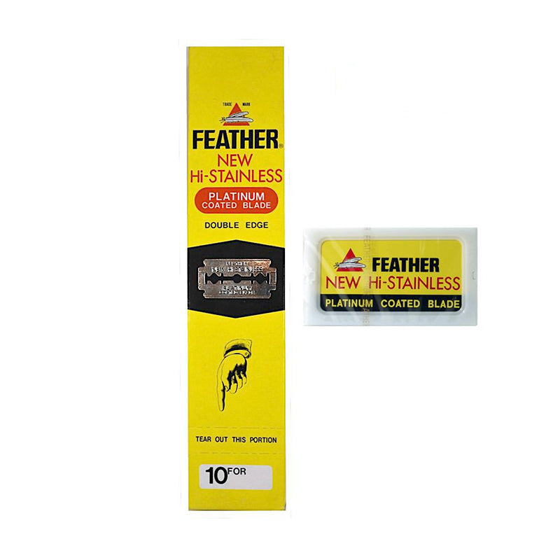 Feather Hi-Stainless Double Edge Platinum Coated Blades in Different Packets - Barbersupplies & Co