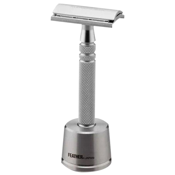Feather AS-D2S Safety Razor Stainless Steel & Stand - Barbersupplies & Co