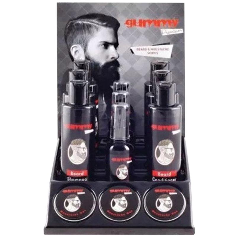 Gummy Premium Beard/Mo DisplaySet: Beard Oil,Shampoo,Conditioner & Moustache Wax - Barbersupplies & Co