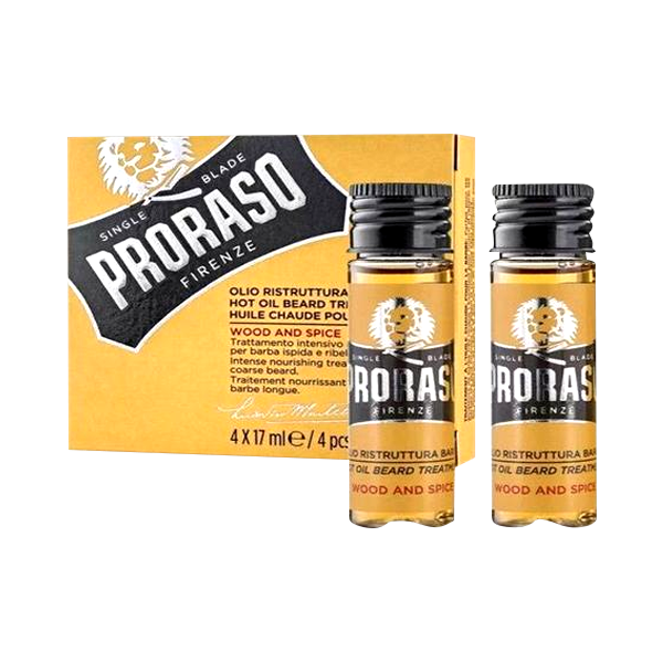 Proraso Hot Oil Beard Treatment 4x 17ml. available in Original or Wood & Spice