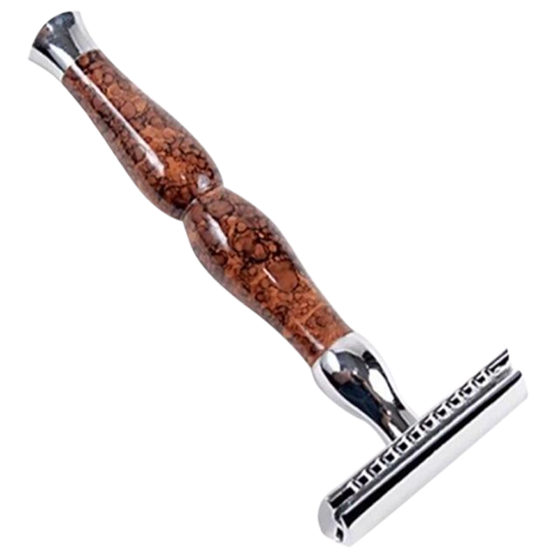 Parker 45R Brown Marble Handle Safety Razor - Barbersupplies & Co