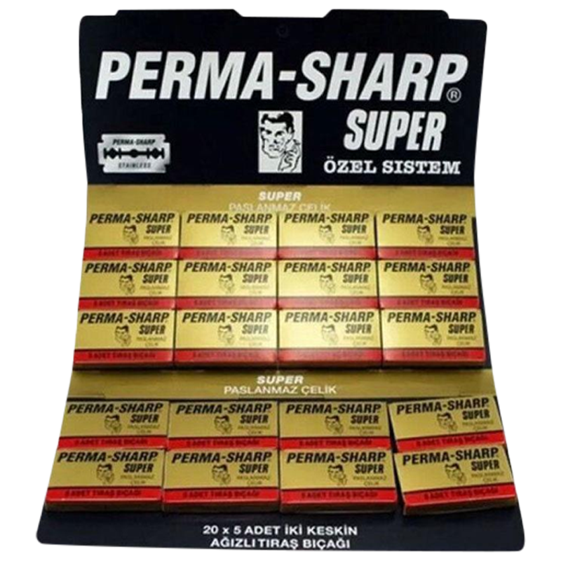 Perma-Sharp Barber Super Double Edge Razor Blades Hanging Card - Pack Of 50 - Barbersupplies & Co