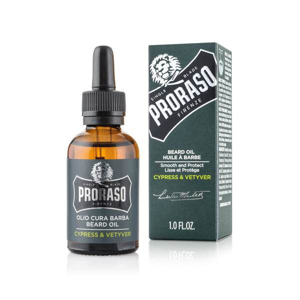 Proraso Beard Oil Face Moisturiser Conditioner 30ml in Cypress & Vetiver, Azur Lime or Wood & Spice - Barbersupplies & Co