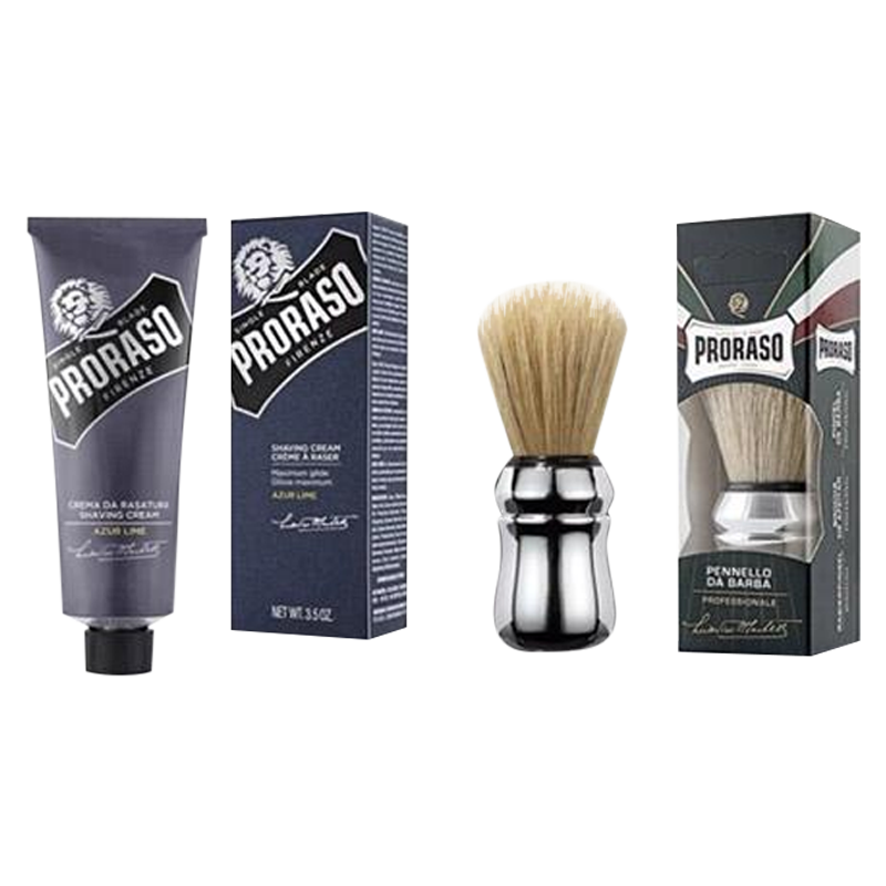 New Proraso Single Blade Azur Lime Shaving Set - Barbersupplies & Co
