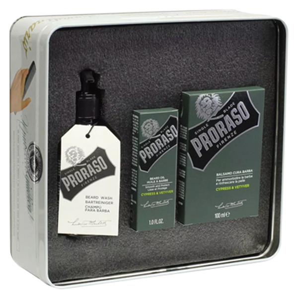 Proraso Vintage Tin Cypres & Vetyver Beard Kit - Barbersupplies & Co