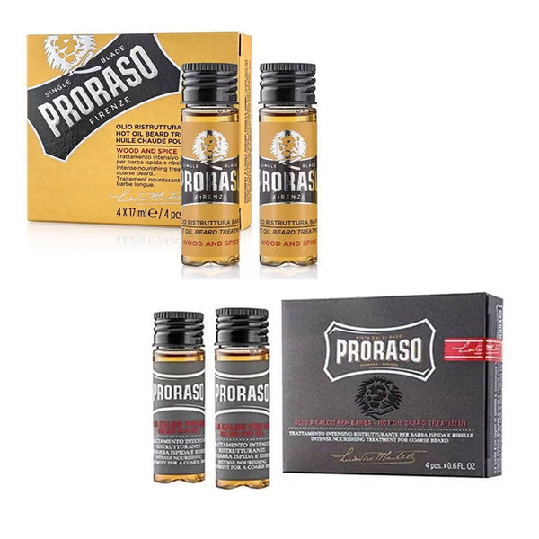 Proraso Hot Oil Beard Treatment 4x 17ml. available in Original or Wood & Spice - Barbersupplies & Co