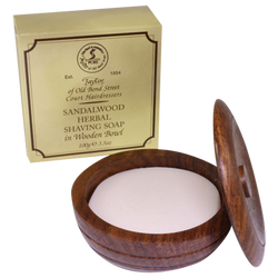 Taylor of Old Bond Street Sandalwood Shave Soap in Wooden Bowl 100g - Barbersupplies & Co