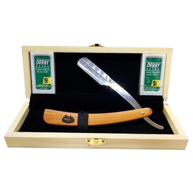 The Old School Straight Razor & Wooden Box & Derby Razor Blades Pack Of 10 - Barbersupplies & Co