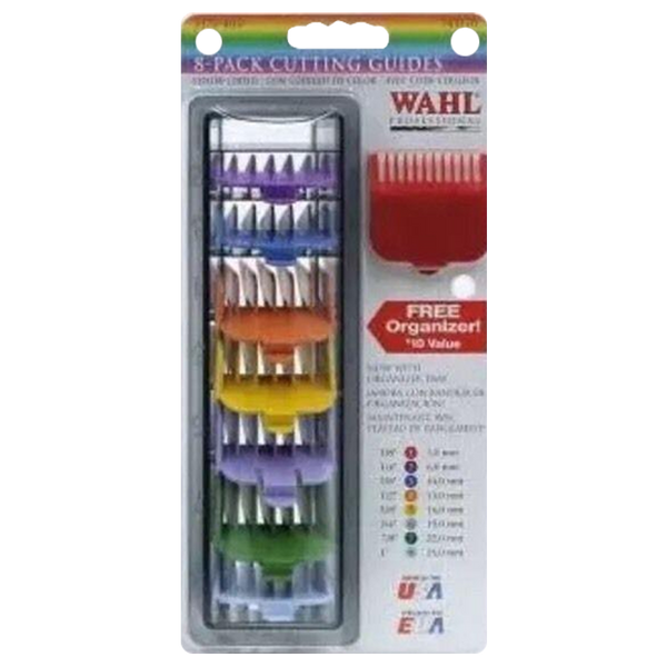 Wahl Universal Comb Attachments 8 pcs Color Set + Organizer Tray - Barbersupplies & Co