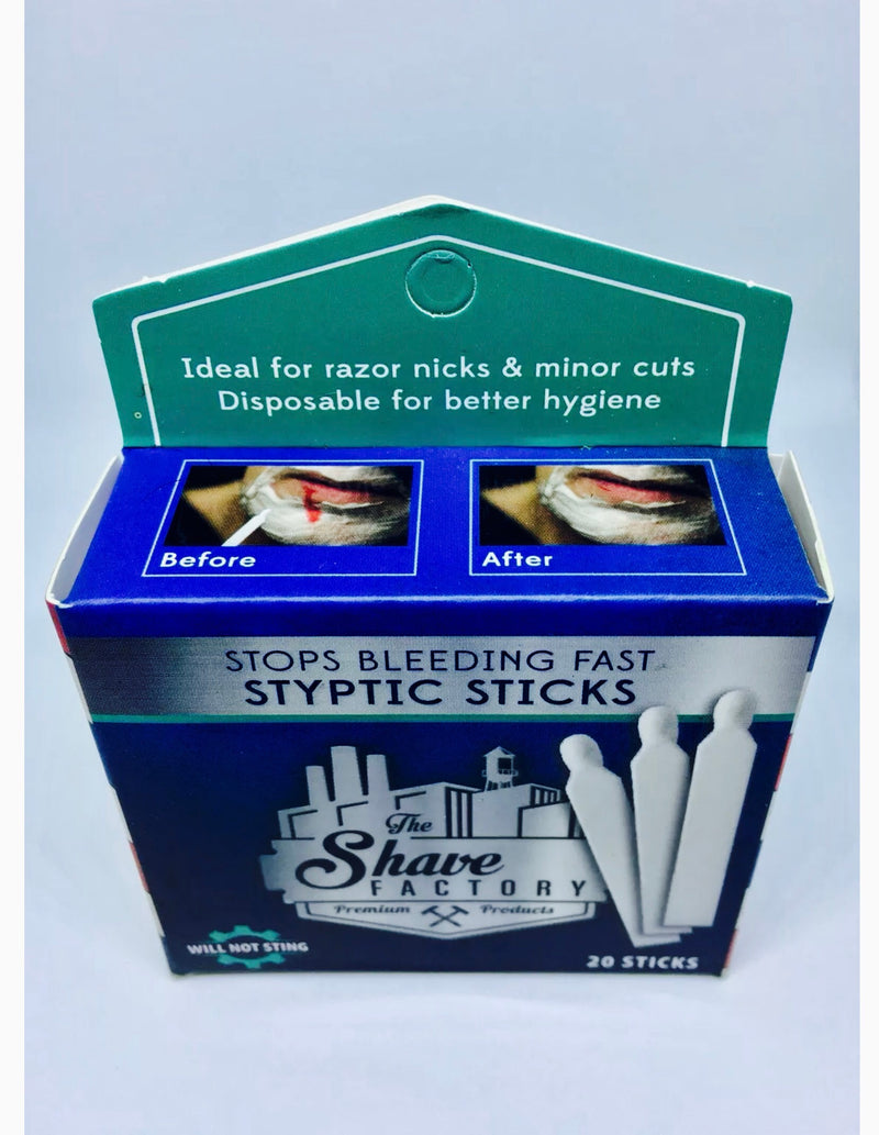 The Shave Factory Styptic Sticks - Stop Bleeding Fast - 20 Single Styptic - Barbersupplies & Co