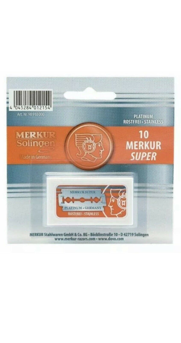 Merkur 39C | HD Slant Safety Razor | Long Chrome Handle | Merkur DE Blades (10)