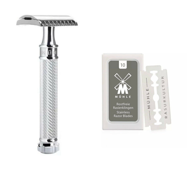 Muhle R89 Grande Closed Comb Safety Razor Free Blades (10)