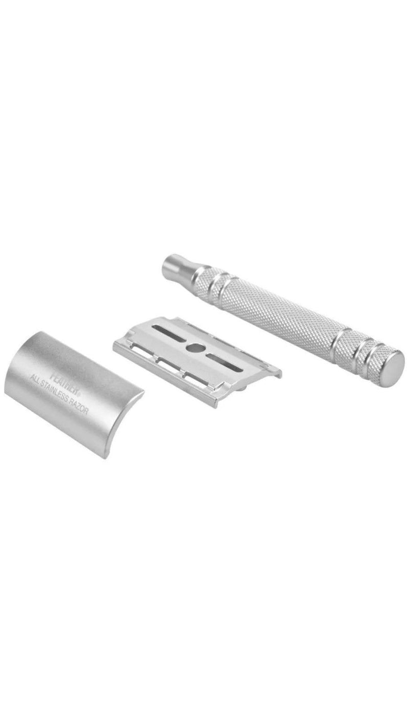 Feather Stainless Steel AS-D2 Double Edge Safety Razor - Barbersupplies & Co