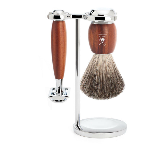 Muhle Rytmo Steamed Ash 3 Piece Shaving Set with Pure Badger Brush and Safety Razor