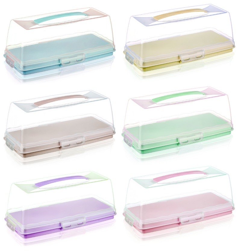 RECTANGLE Large Plastic Cake Storage Box Container with Lid SMC