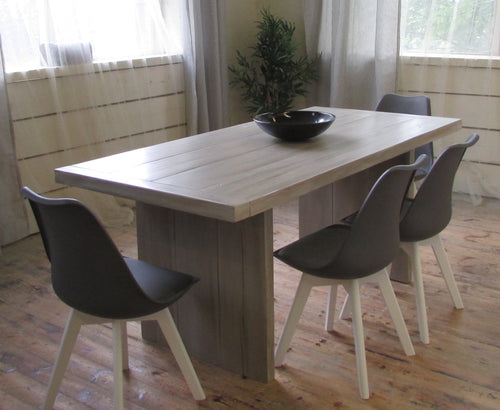 Eskdale Chunky solid reclaimed timber table with 4 Eames influenced padded chairs - Brogan & French