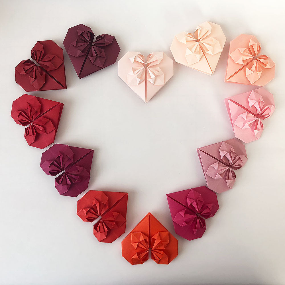 Set of Red Shades Origami Paper Hearts
