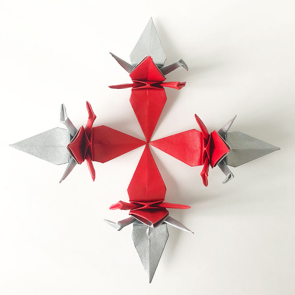 Set of Coupled Origami Paper Cranes