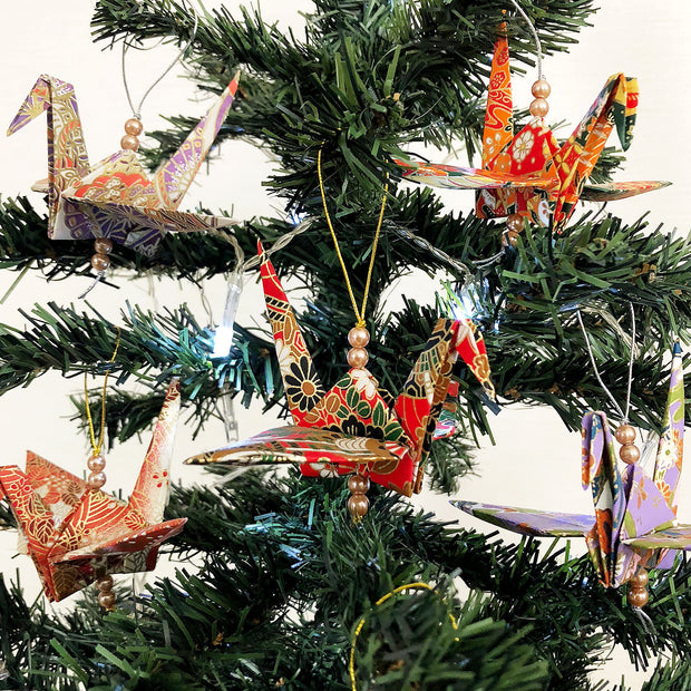 Set of Origami Cranes Christmas Hanging Ornaments