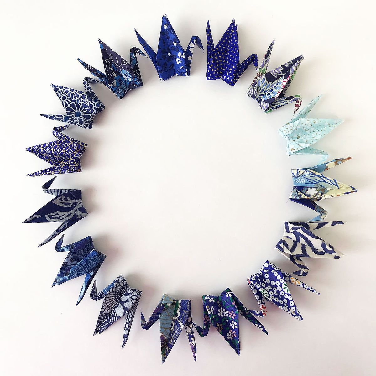"120 3"" Shades of Blue Yuzen Washi Origami Cranes"