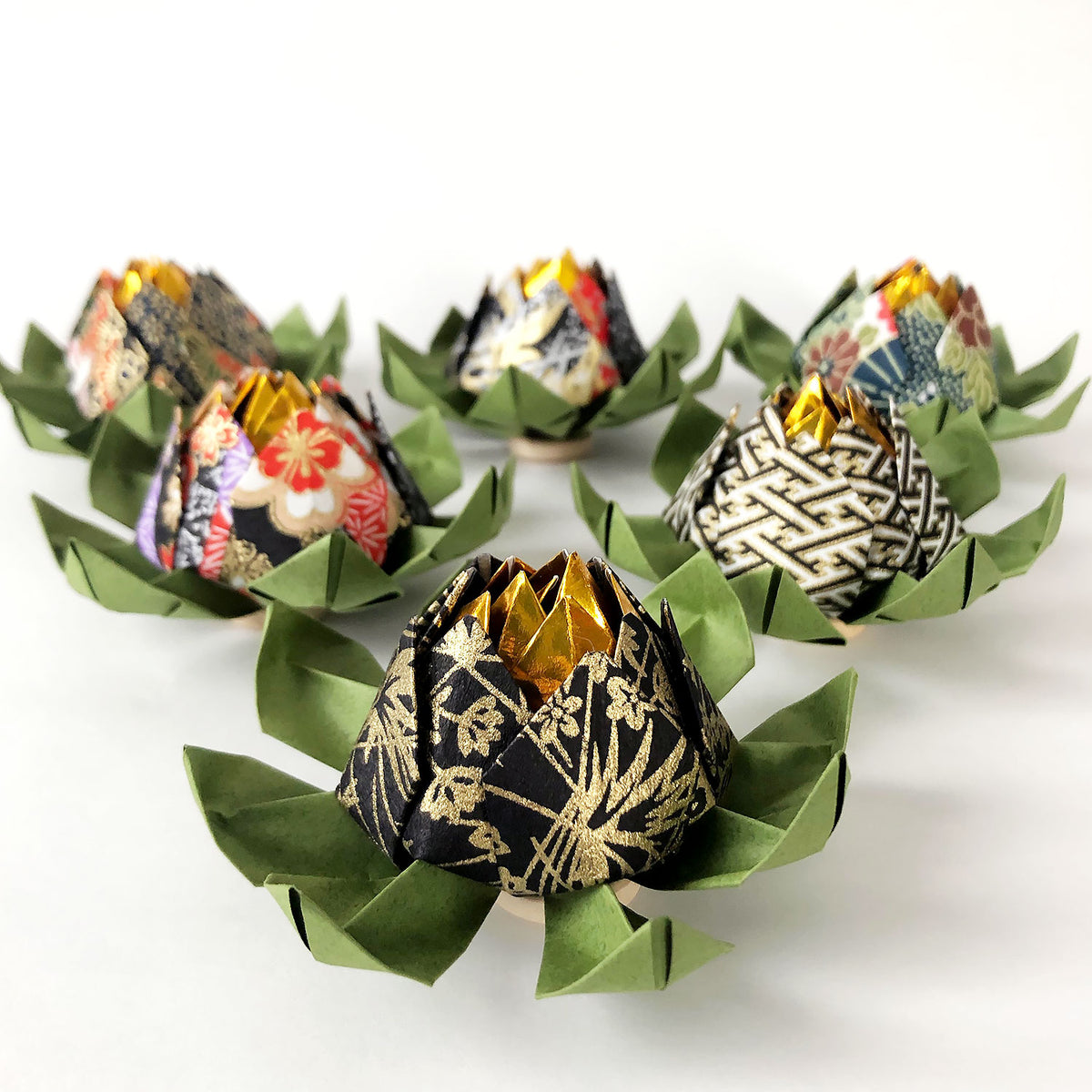Set of Yuzen Origami Lotus Flowers