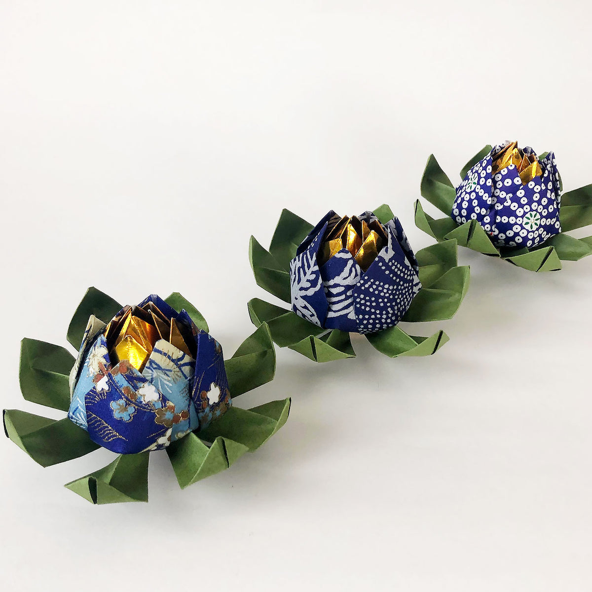 Set of Yuzen Origami Lotus Flowers - Blue Shades