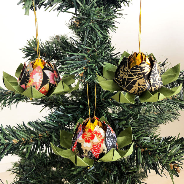 Set of Origami Lotus Flower Christmas Hanging Ornaments