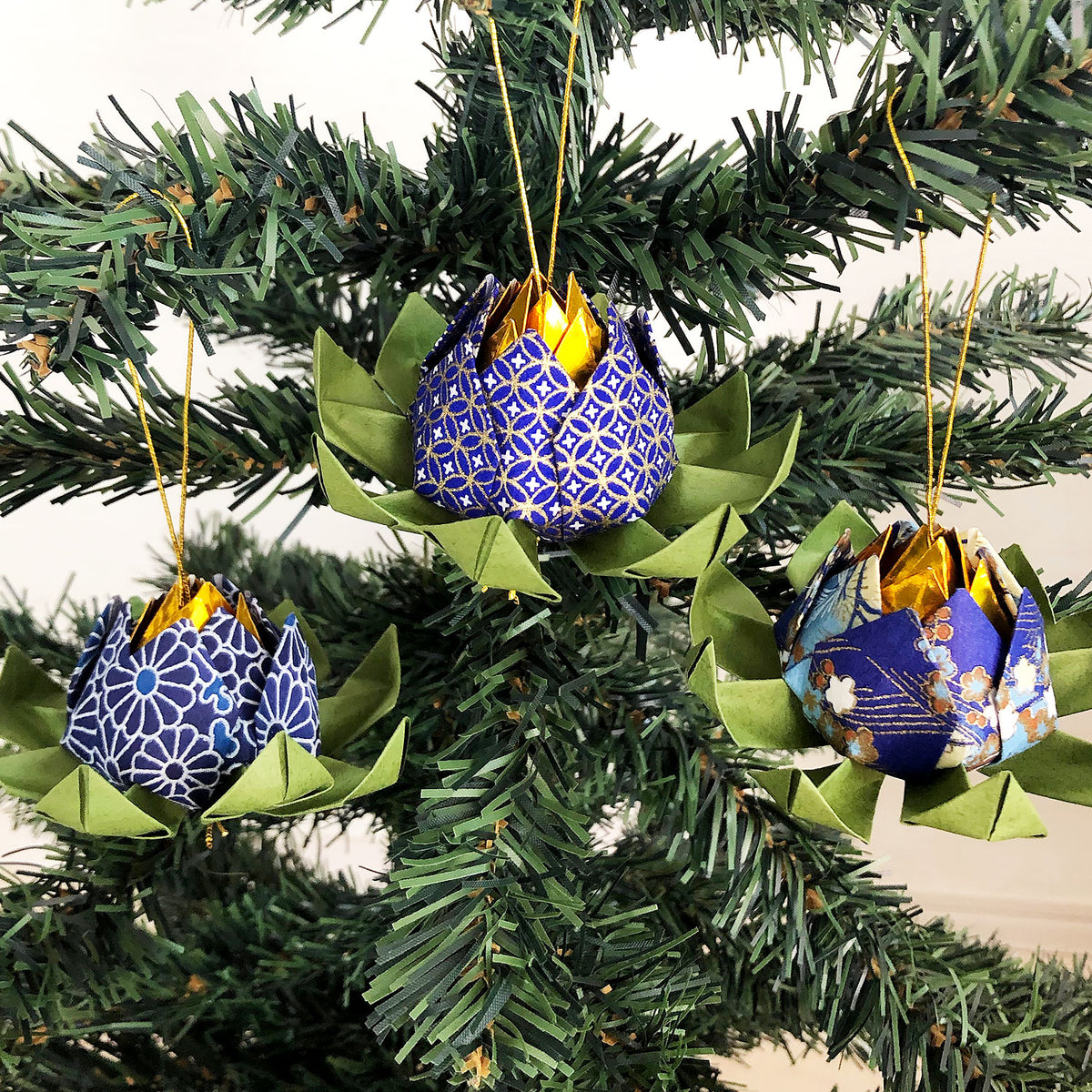 Set of Origami Lotus Flower Christmas Hanging Ornaments - Shades of Blue