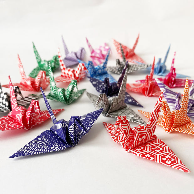 "100 3"" Multi Pattern Washi Chiyogami Origami Paper Cranes"