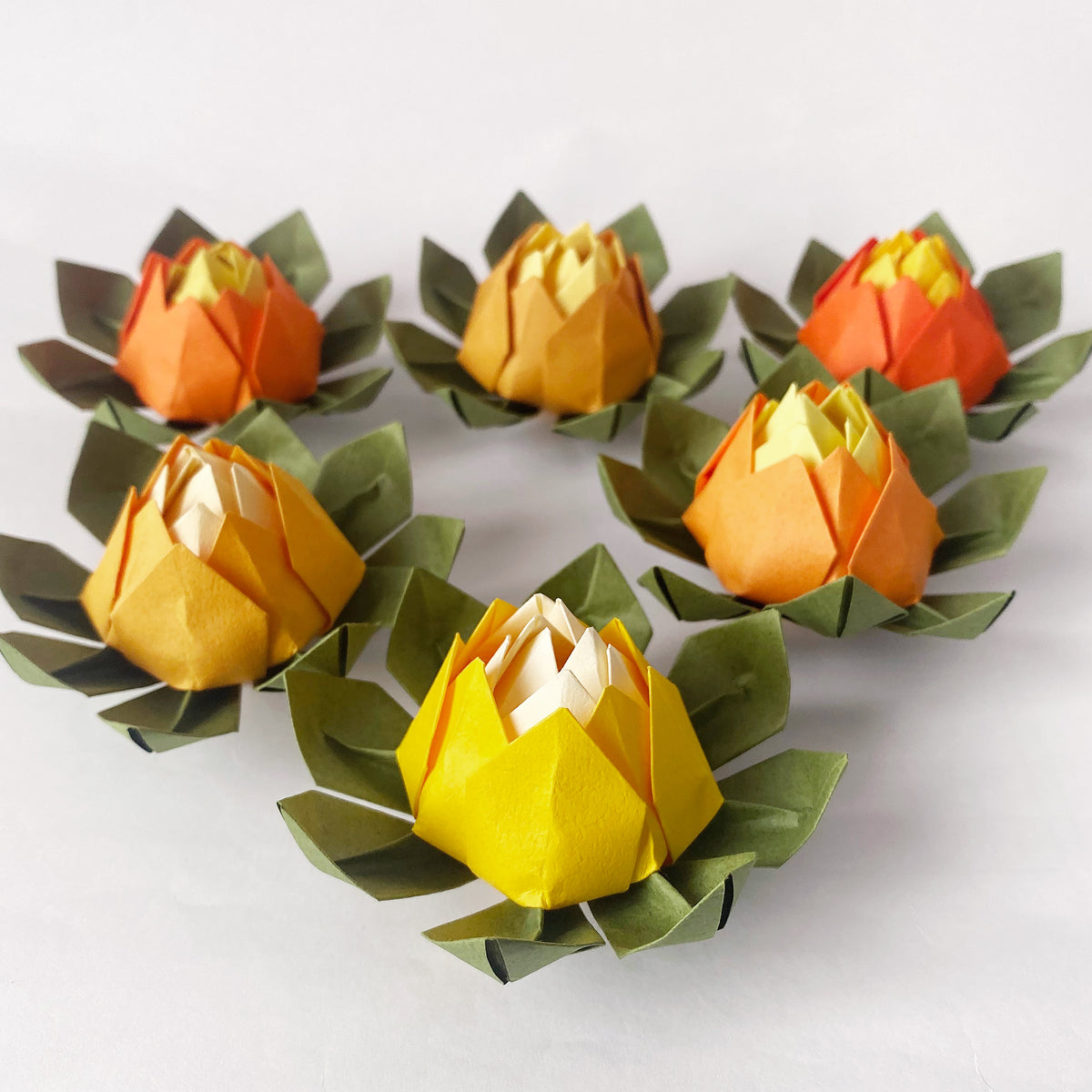 Set of 6 Yellow Shades Origami Lotus Flower