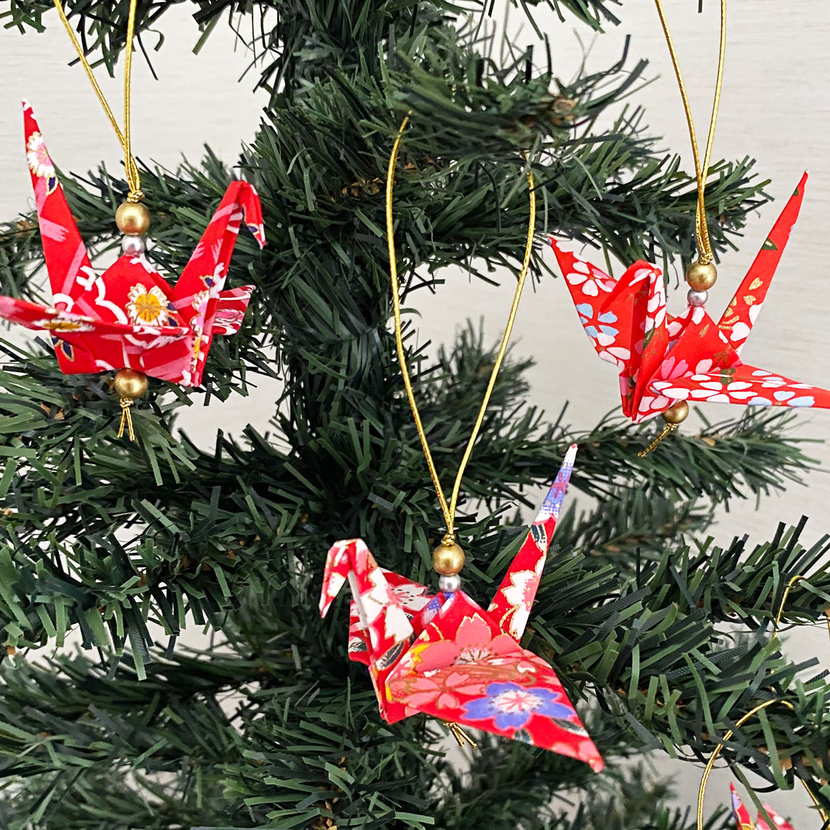 Set of Red Yuzen Origami Cranes Christmas Ornaments
