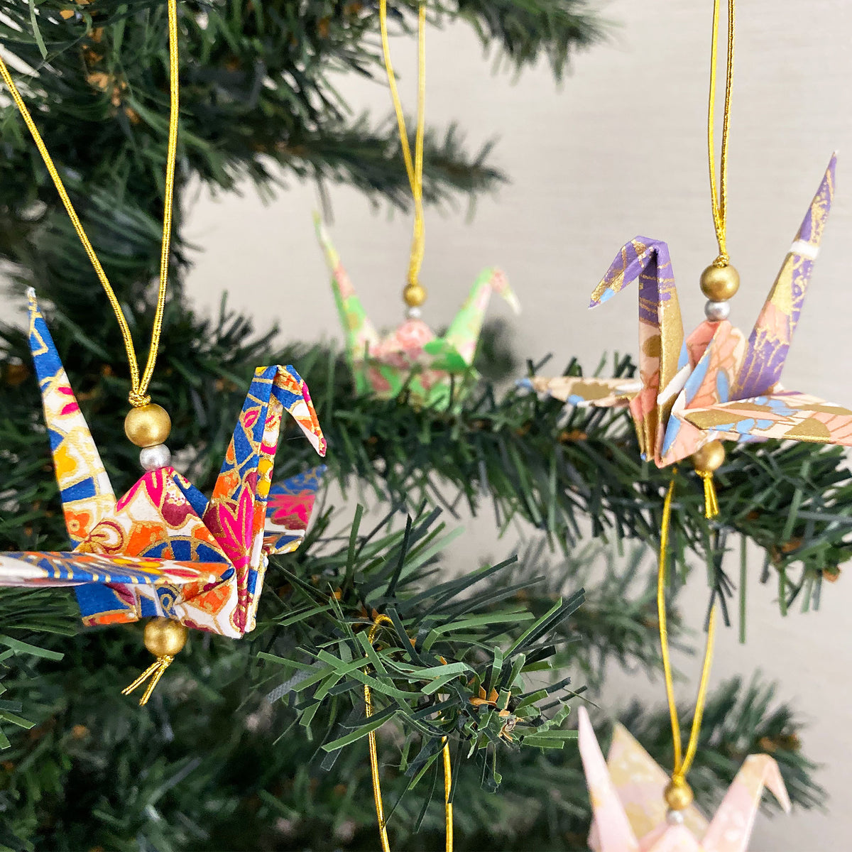 Set of Yuzen Origami Cranes Christmas Ornaments