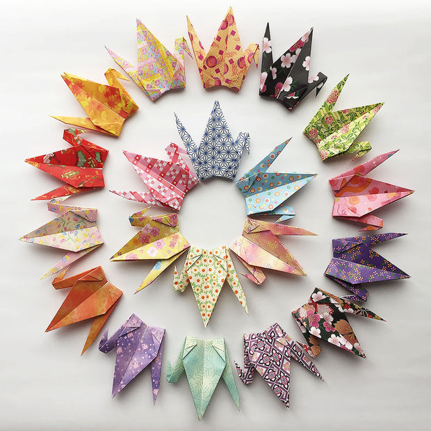 "100 6"" Multi Pattern Chiyogami Origami Paper Cranes"