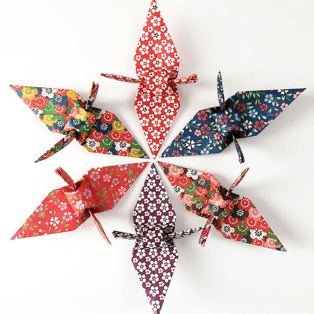 "100 6"" Yuzen Chiyogami Origami Paper Cranes - Flower Pattern"