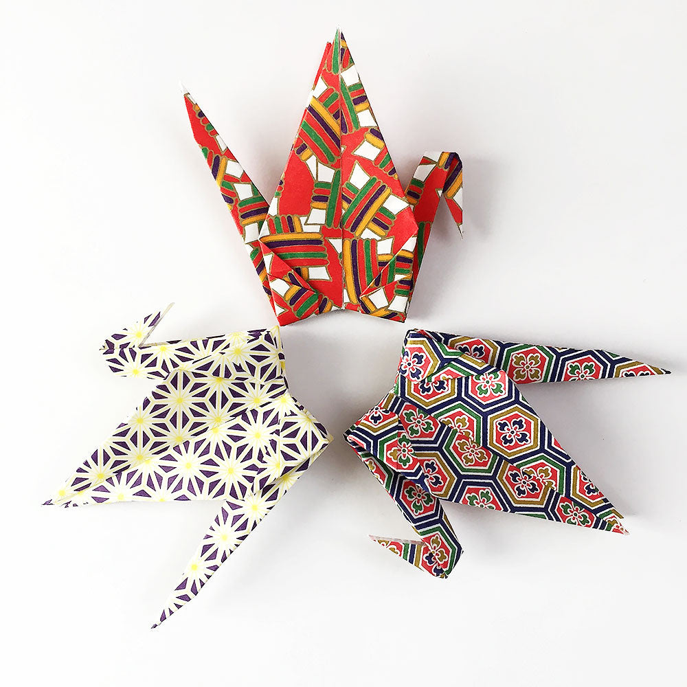 "100 6"" Patterned Yuzen Chiyogami Origami Paper Cranes"