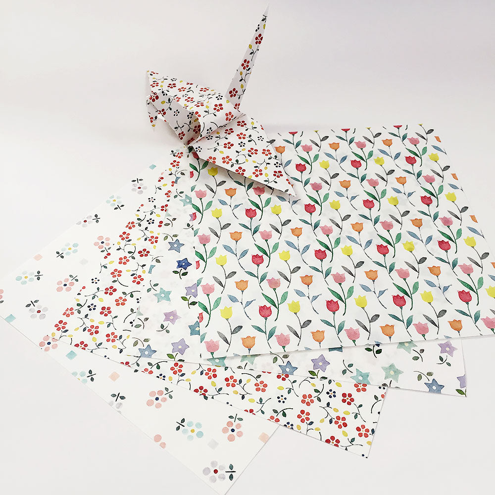 "Set of 60 6"" Washi Chiyogami Floral Pattern Origami Paper Cranes"