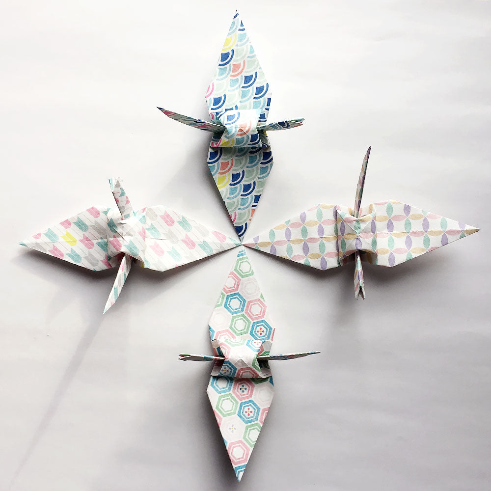 "Set of 60 6"" Washi Chiyogami Komon Pattern Origami Paper Cranes"