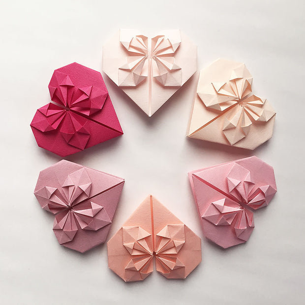 Set of Origami Paper Hearts