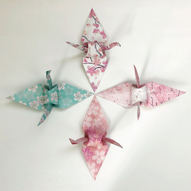 "Set of 48 6"" Sakura Cherry Blossom Design Pattern Origami Paper Cranes"