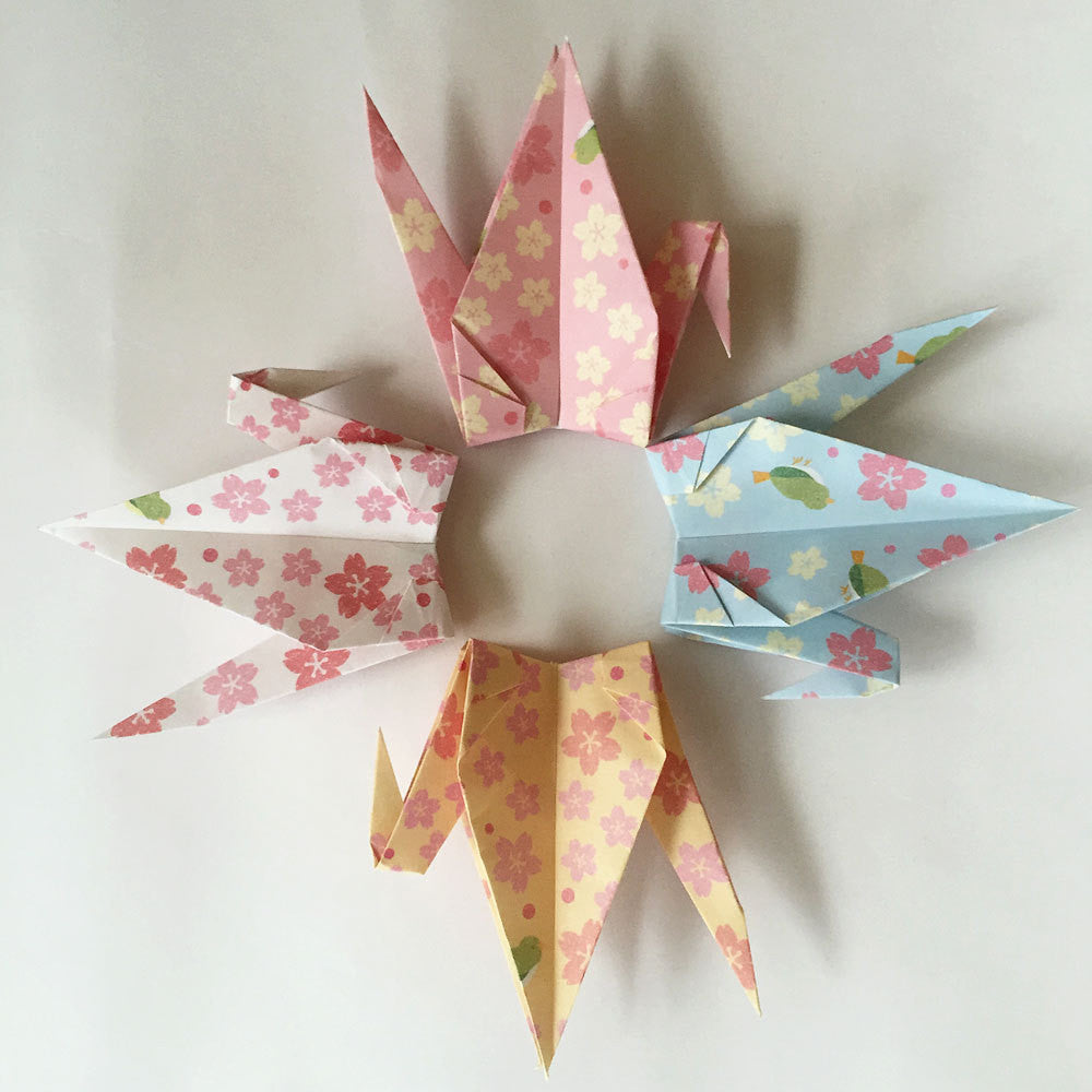 "Set of 48 6"" Flower Design Pattern Origami Paper Cranes"