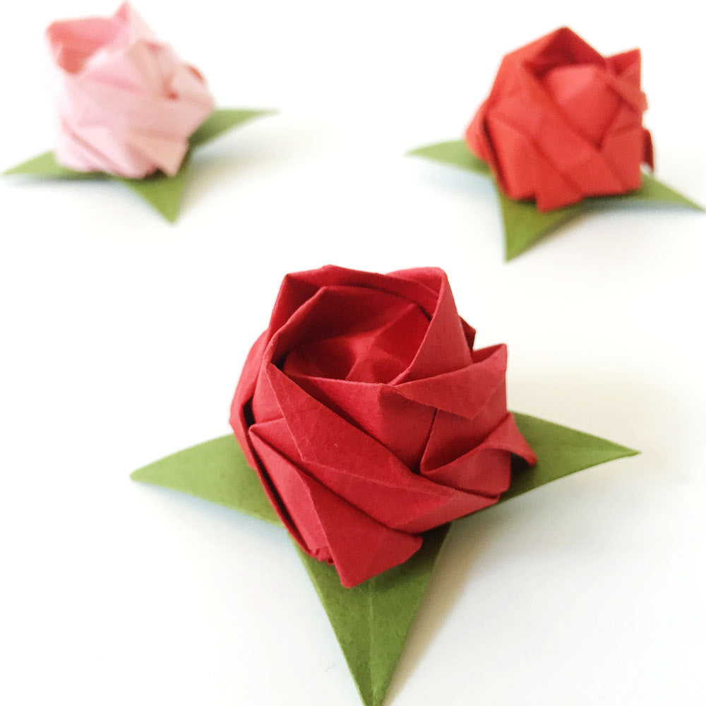 Set of 12 Origami Roses - Red Shades Tant Paper (No Stems)