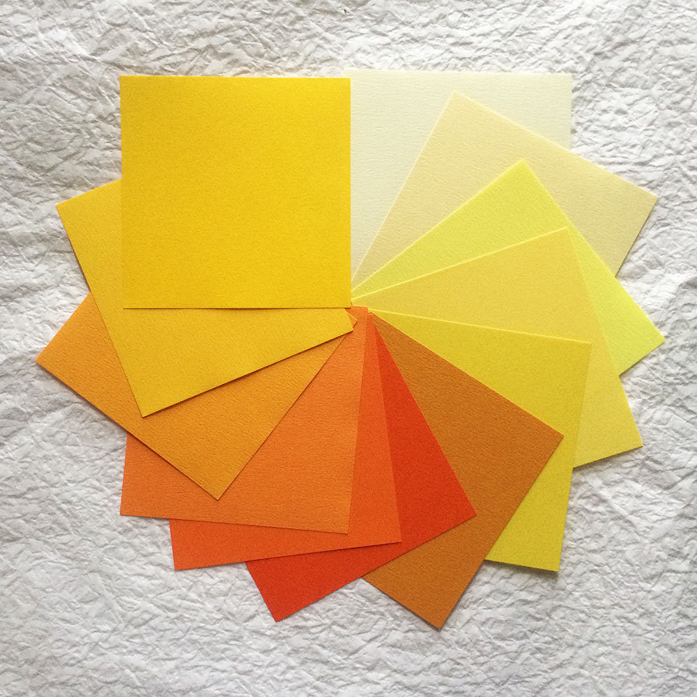Set of 12 Origami Roses - Yellow Shades Tant Paper (No Stems)